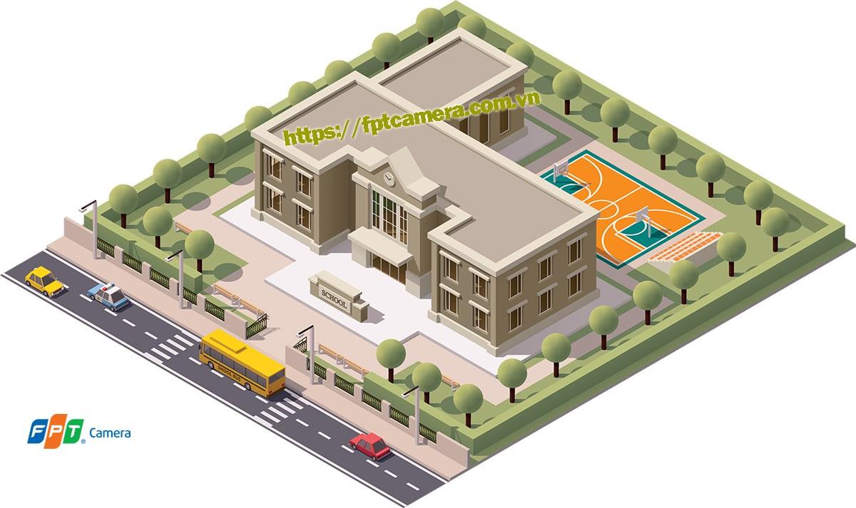 Hệ thống camera an ninh quan sát trong trường học. Giúp bảo vệ học sinh được tốt hơn.