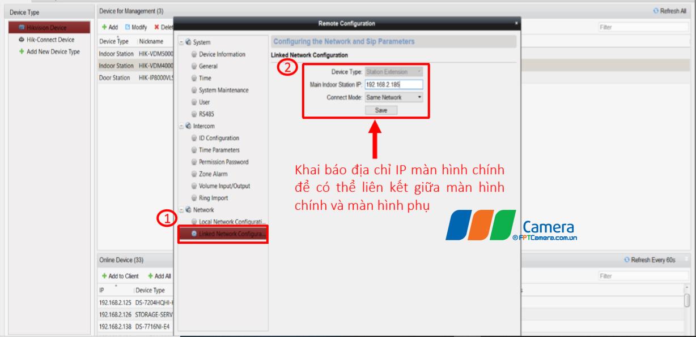 Khai báo địa chỉ IP màn hình chính để có thể liên kết giữa màn hình chính và màn hình phụ