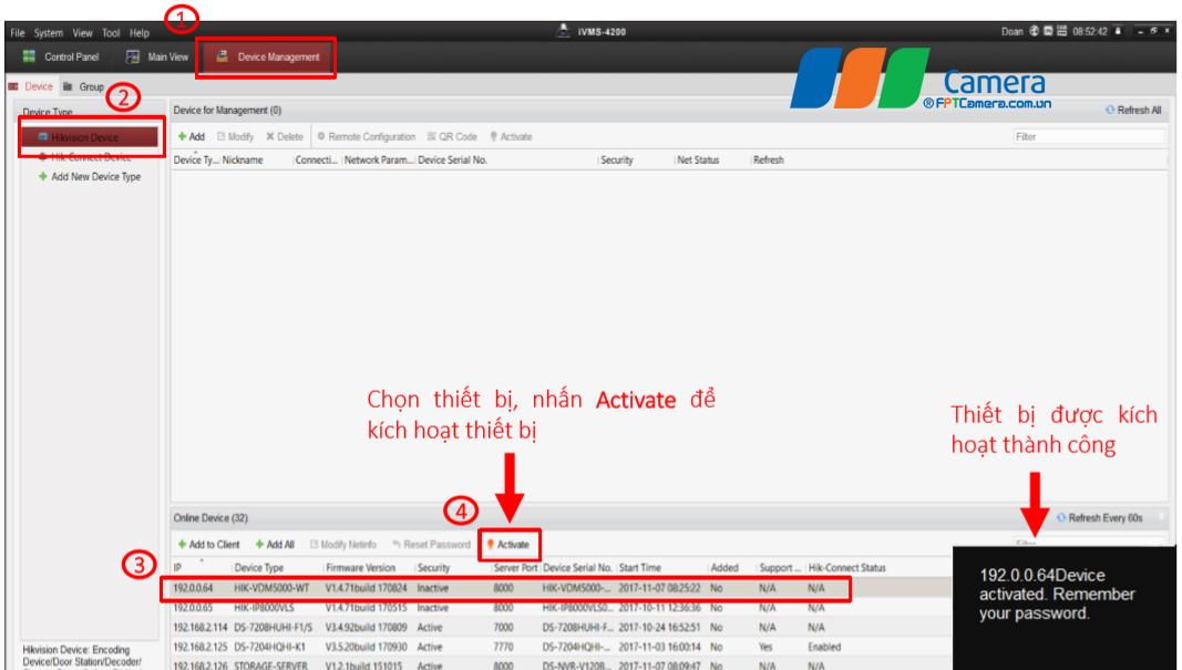 Chọn thiết bị, nhấn Activate để kích hoạt thiết bị