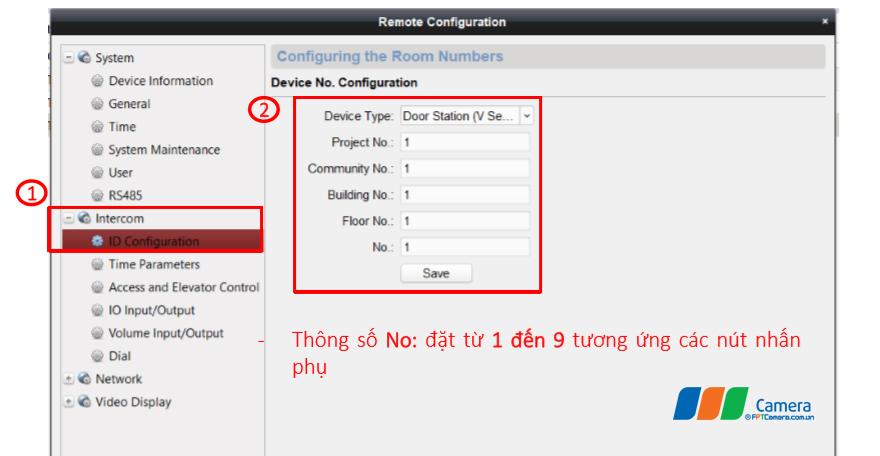 Thông số No: đặt từ 1 đến 9 tương ứng các nút nhấn phụ