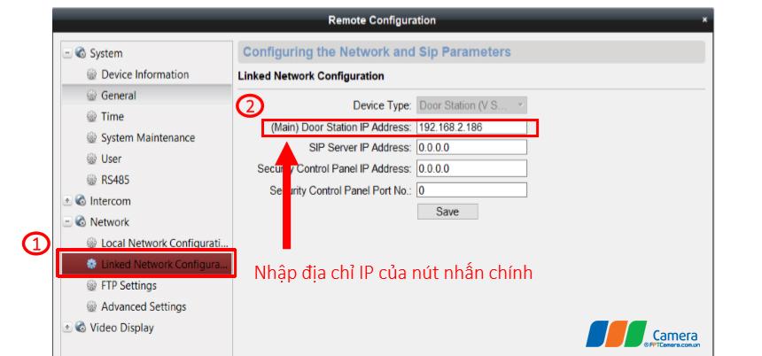 Nhập địa chỉ IP của nút nhấn chính