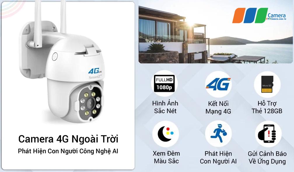 Camera 4G Ngoài trời SmartZ nhiều tiện ích cho người sử dụng